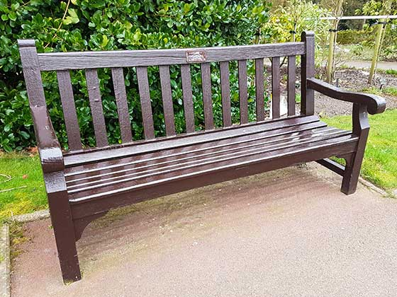 Wooden Memorial Bench with bronze plaque